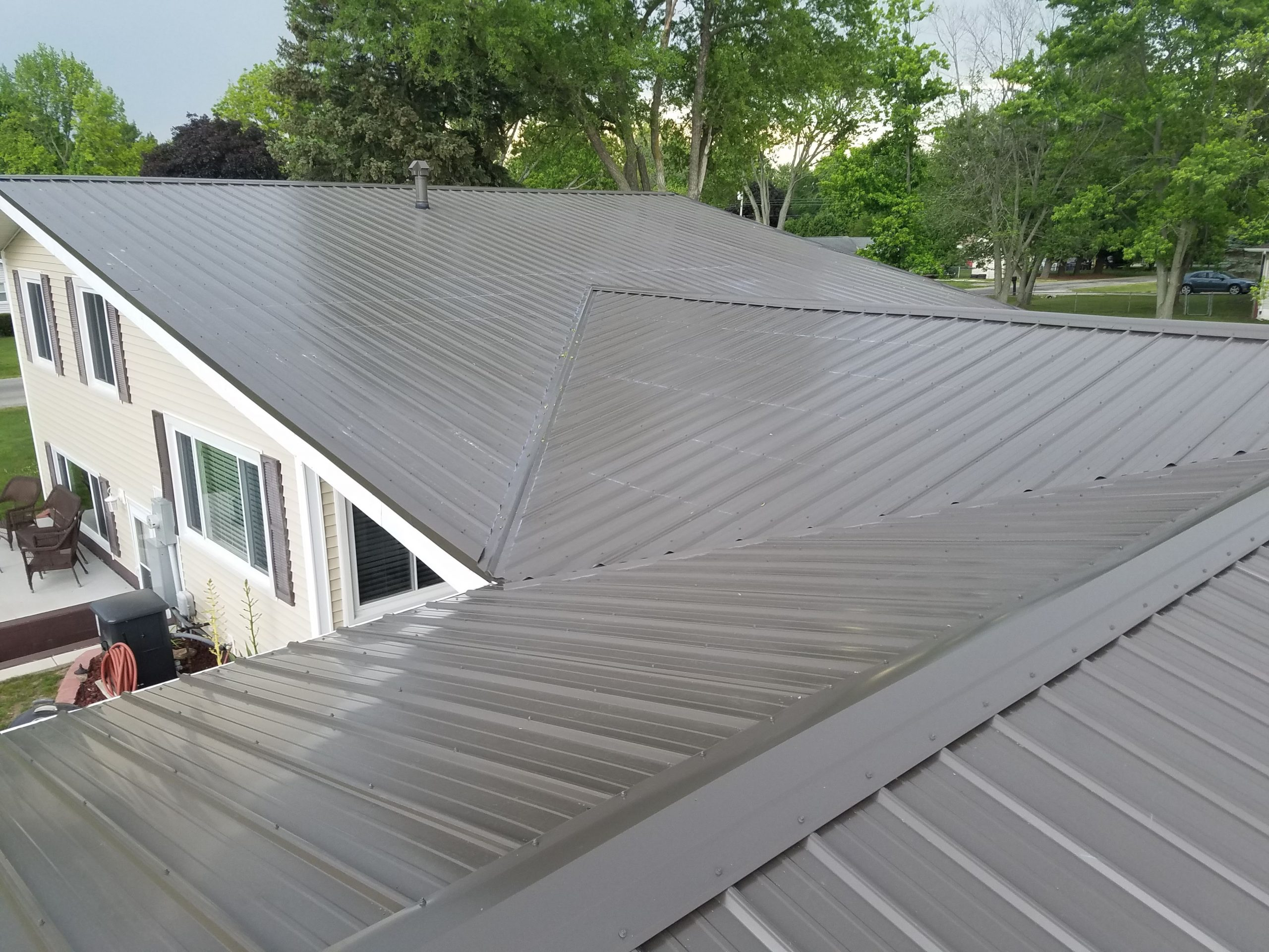 completed metal roofing project